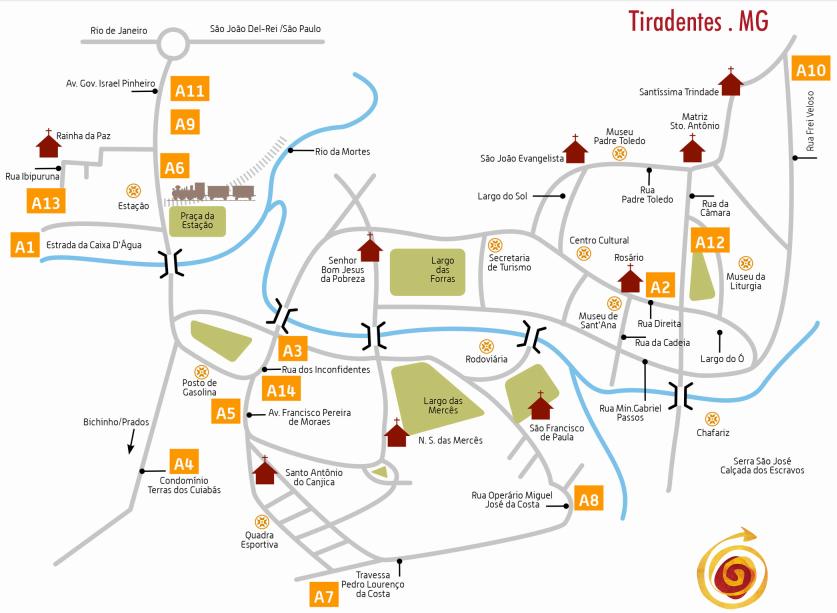 Mapa Tiradentes Rota dos Ateliers O que fazer em Tiradentes MG