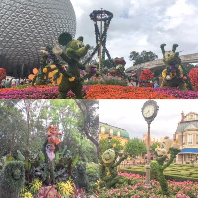 Na primavera o Epcot fica tomado por lindas esculturas feitas de flores e folhas espalhadas pelos canteiros do parque todo. É o Epcot Flower and Garden Festival