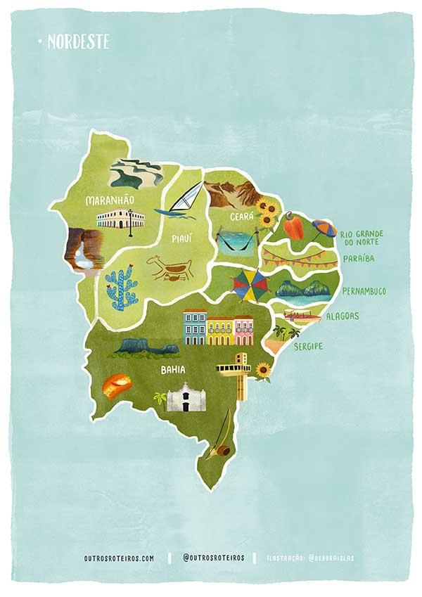 mapa turístico do nordeste ilustrado